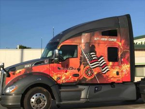 Service One Transportation's Custom-Wrapped Kenworth Honoring Firefighters